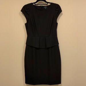 J. Crew factory black peplum cap sleeve dress
